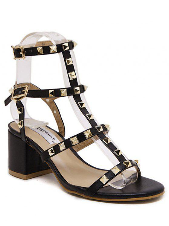 womens Rivet Solid Color Chunky Heel Sandals - BLACK 38