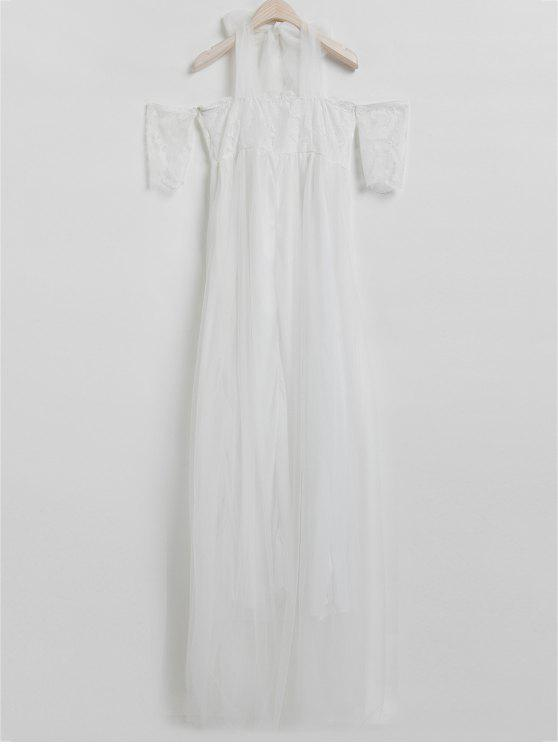 latest Solid Color Lace Spliced Off The Shoulder Maxi Dress - WHITE XL