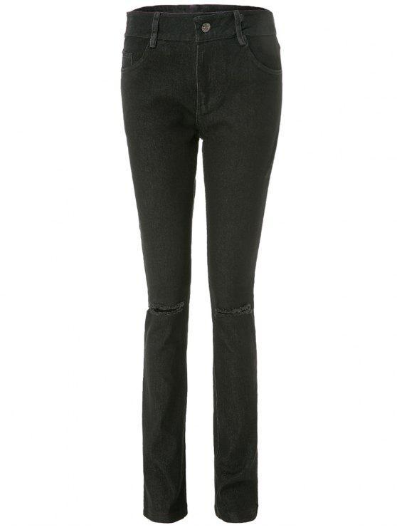 Jeans de cigarrillos desgastados de la rodilla - Negro L