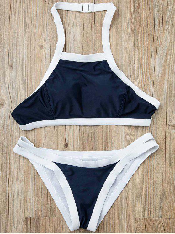 trendy Hit Color Halterneck Bikini Set - BLUE S