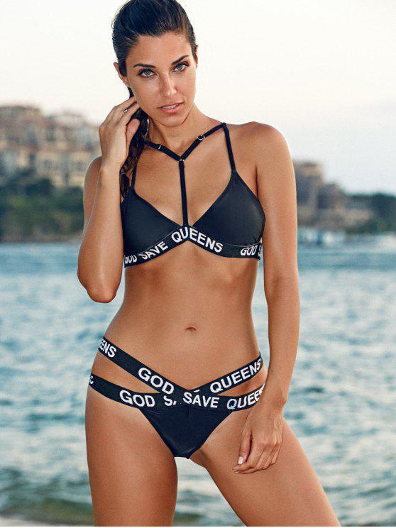 79818dc964 23% OFF  2019 Spaghetti Strap Letter Print Bandage Bikini Set In ...