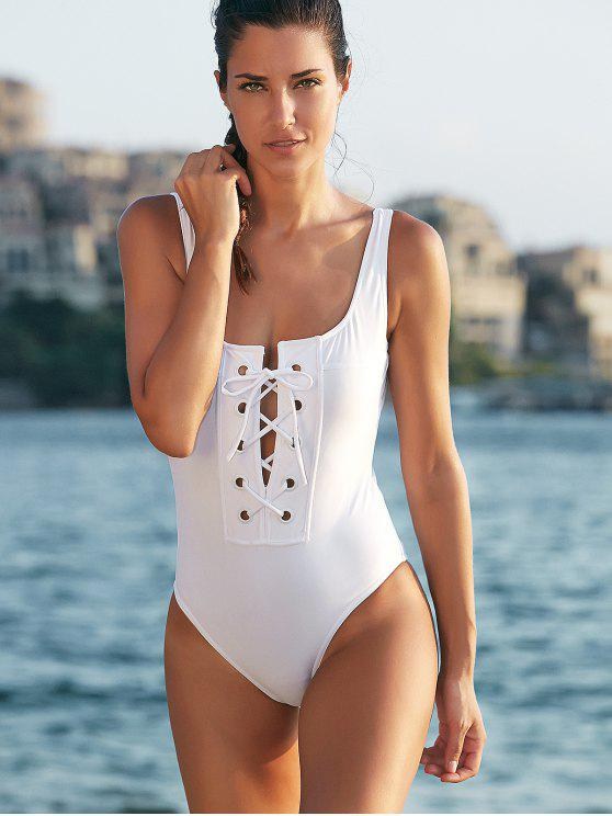 womens Tie-Up Low Cut One-Piece Swimwear - WHITE S