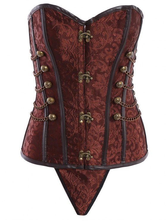 hot Alloy Chain Steampunk Lace Up Corset - BROWN XL