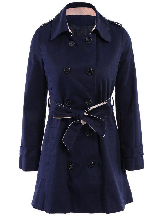 Manteau ceinturé à couleur pure à encolure crantée à manches longues à double-boutonnage - Bleu saphir S