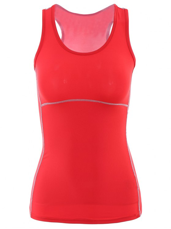 women's Exposed Seams Sports Tank Top - RED S