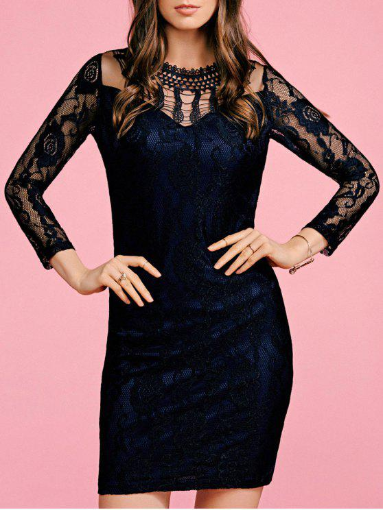 best Black Lace Round Neck 3/4 Sleeve Bodycon Dress - BLACK S