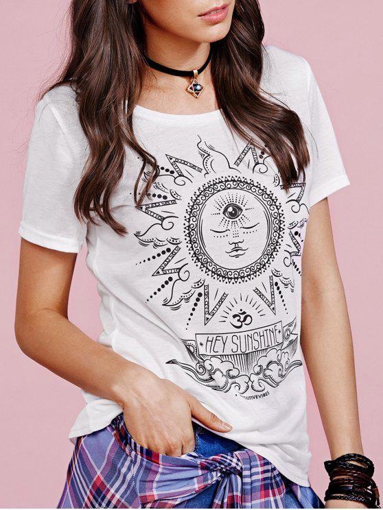sale Sun Print Round Collar Short Sleeve T-Shirt - WHITE S