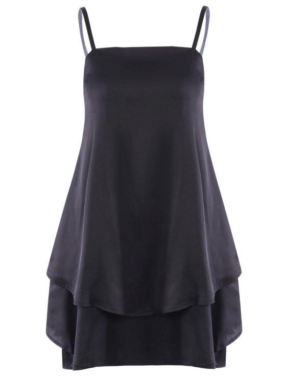 Flouncing correas espaguetis vestido - Negro XL