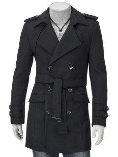 Turn-Down Collar Epaulet Design Double Breasted Long Sleeve Woolen Coat For Men - Black M