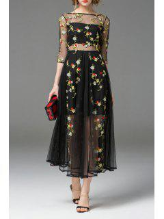 Boat Neck See Through Floral Embroidered Dress - Black S