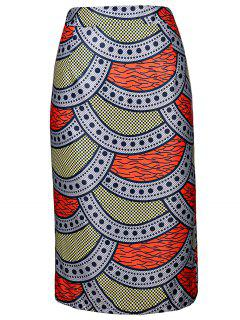 High-Waisted Printed Pencil Skirt - L