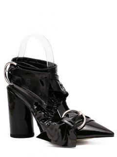 Pointed Toe Chunky Heel Cross-Strap Sandals - Black 36