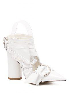 Pointed Toe Chunky Heel Cross-Strap Sandals - White 38