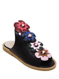 Floral Peep Toe Flat Heel Slippers - Black 36