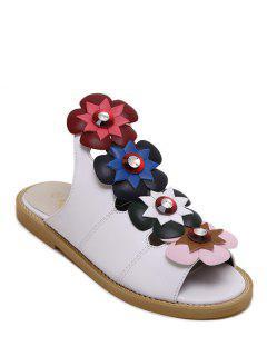 Floral Peep Toe Flat Heel Slippers - White 36