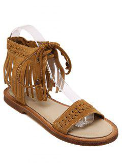 Fringe Lace-Up Flat Heel Sandals - Brown 36