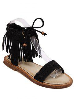 Fringe Lace-Up Flat Heel Sandals - Black 36
