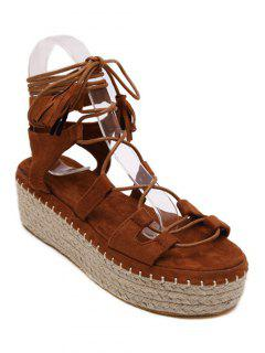 Weaving Platform Lace-Up Sandals - Brown 36