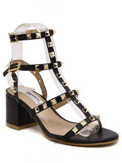 Rivet Solid Color Chunky Heel Sandals - Black 36
