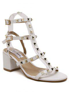 Rivet Solid Color Chunky Heel Sandals - White 36