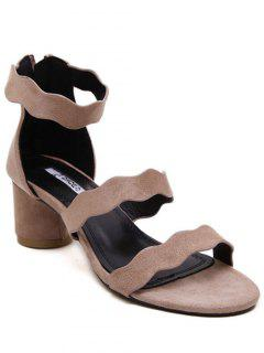 Chunky Heel Flock Ankle Strap Sandals - Pink 36