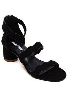 Chunky Heel Flock Ankle Strap Sandals - Black 36