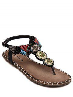 Flat Heel Tribal Pattern Beading Sandals - Black 36