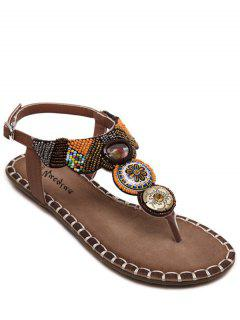Flat Heel Tribal Pattern Beading Sandals - Brown 36
