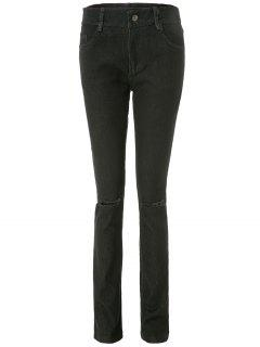 Frayed Knee Cigarette Jeans - Black L