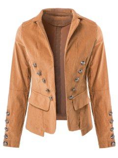 Lapel Structured Washed Solid Colour Blazer - Light Coffee L