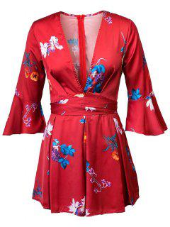 Floral Plunging Neck 3/4 Sleeves Romper - Red L