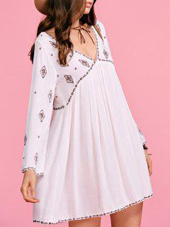 Ethnic Embroidery Plunging Neck Long Sleeve Dress - White S