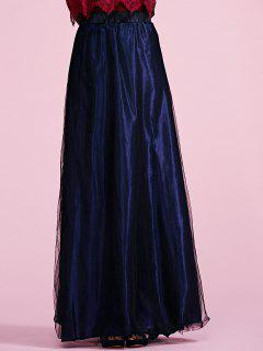 Voile Deep Blue A Line Skirt - Deep Blue S