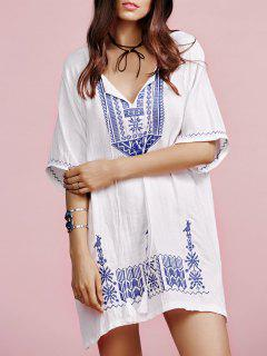 Ethnic Embroidery V Neck Half Sleeves Dress - White