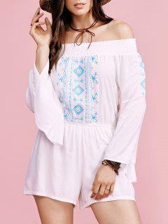 Broderie Off The Shoulder Flare Manches Romper - Blanc