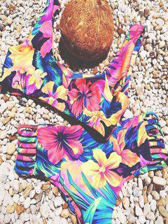 Flower Print Bandage Bikini Set - Peach Red Xl