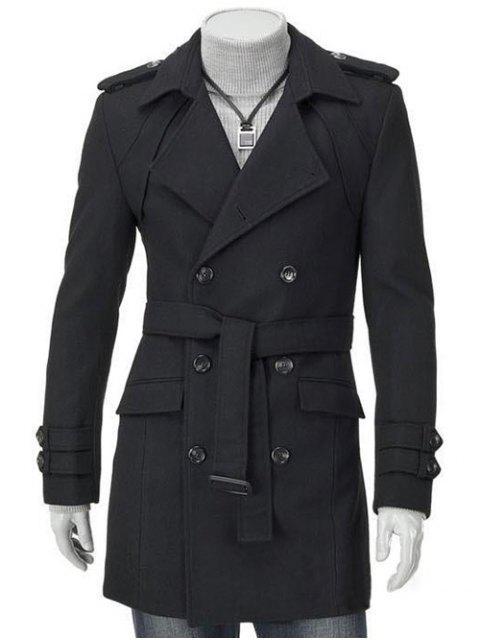 fashion Turn-Down Collar Epaulet Design Double Breasted Long Sleeve Woolen coat For Men - BLACK M Mobile