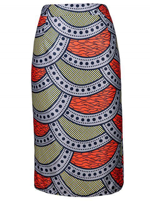 shops High-Waisted Printed Pencil Skirt - COLORMIX L Mobile