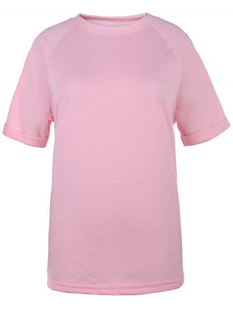 sale Short Sleeve Solid Color T-Shirt - PINK XL Mobile
