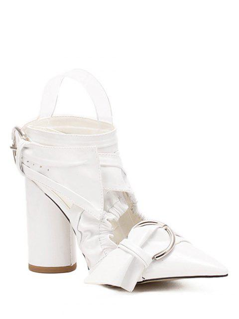 affordable Pointed Toe Chunky Heel Cross-Strap Sandals - WHITE 38 Mobile