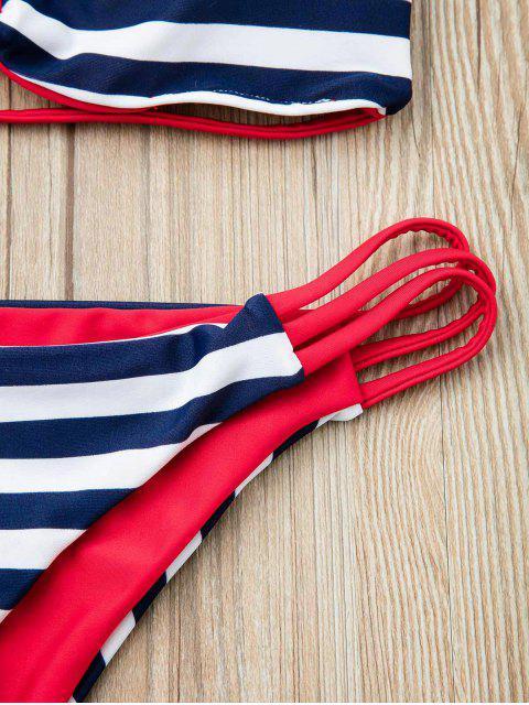 chic Stripes Bandeau Bikini Set - RED L Mobile