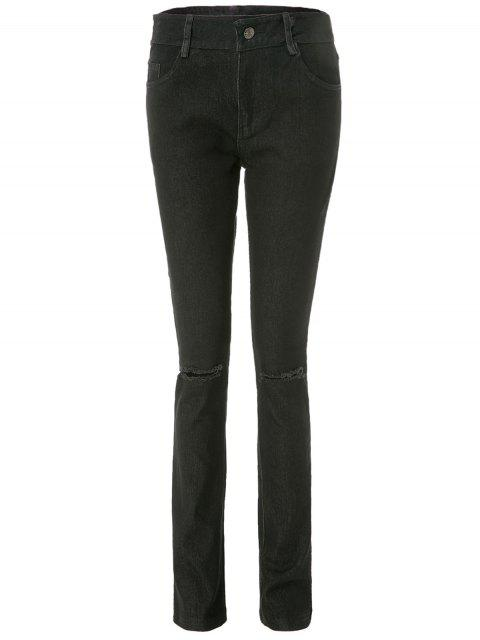 fashion Frayed Knee Cigarette Jeans - BLACK L Mobile