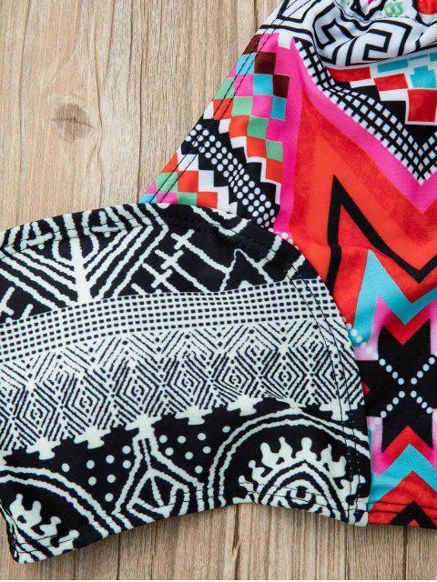 Ethnic Pattern Halterneck Bikini Set - 赤 L Mobile