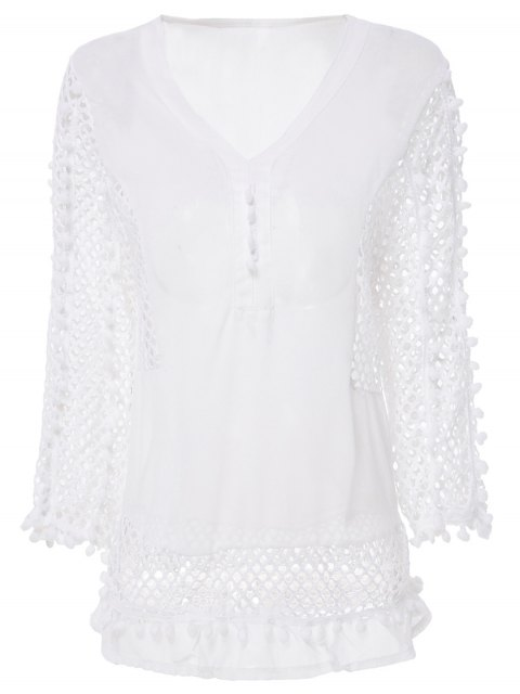 hot White Chiffon Eyelets Blouse - WHITE L Mobile