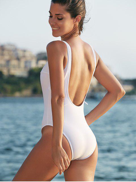 womens Tie-Up Low Cut One-Piece Swimwear - WHITE S Mobile