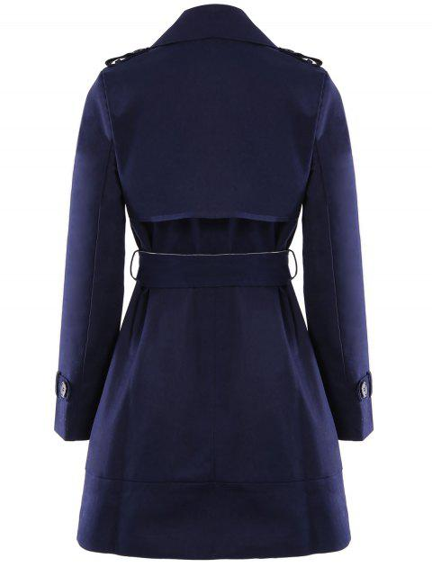womens Lapel Double-Breasted Belt Trench Coat - SAPPHIRE BLUE XL Mobile