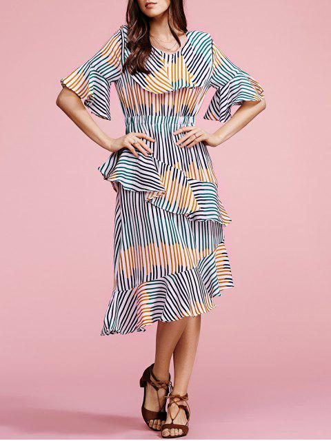 Striped V Neck manches demi Ruffles Dress - Rayure Taille Unique(S'adap Mobile