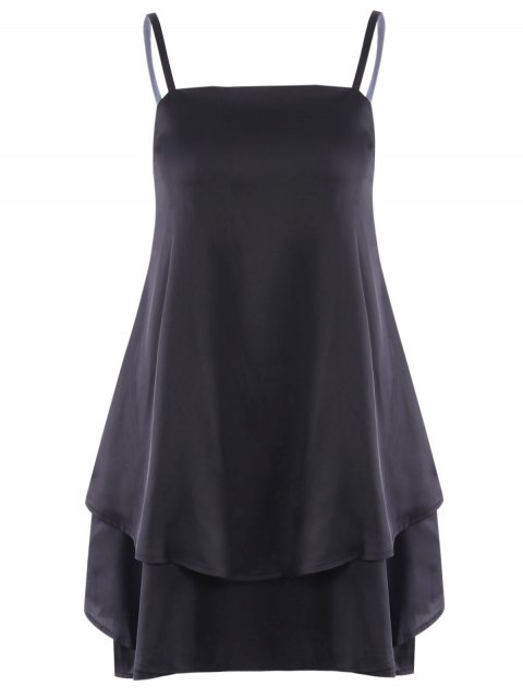 affordable Layered Flounced Chiffon Swing Dress - BLACK S Mobile