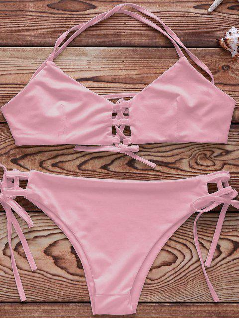 Ensemble Bikini couleur unie à lacet - Rose  XL Mobile