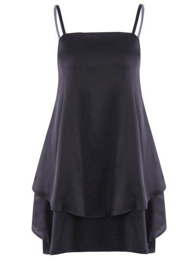 Spaghetti Straps Black Flouncing Dress